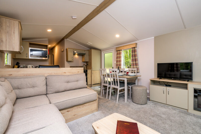 3-bed hire caravan holiday home living area