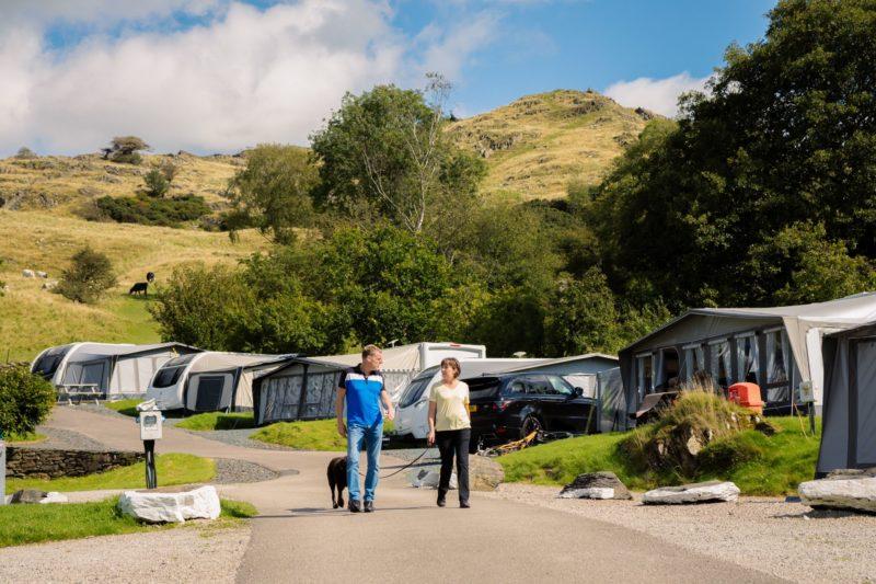 Couple Walking Dog Campsite Lake District