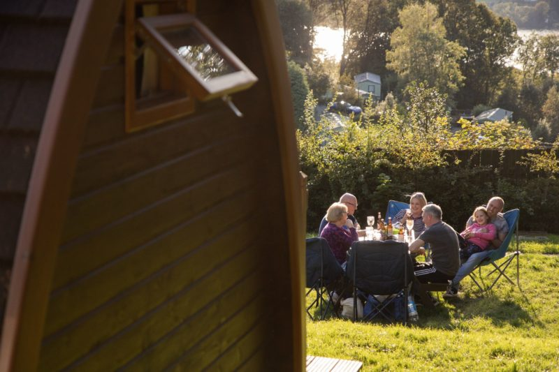 camping pod outside dining lake district
