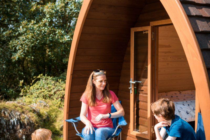 camping pod external family lake district