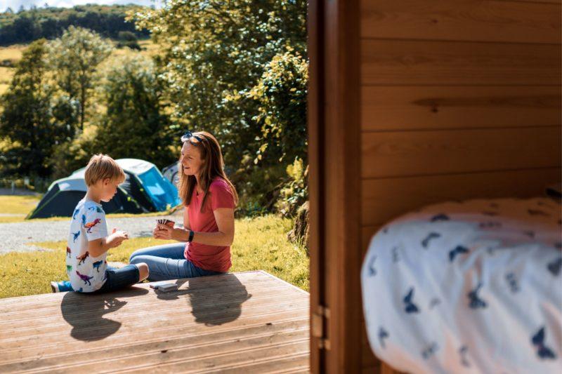 camping pod family external lake district