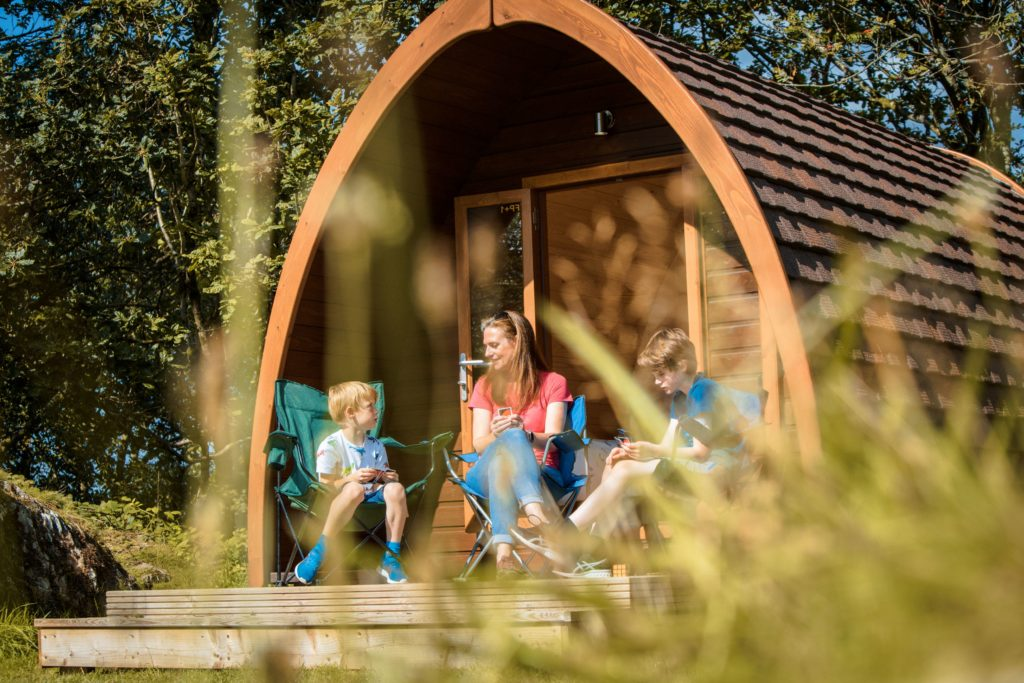 camping pods family external Park Cliffe Lake District