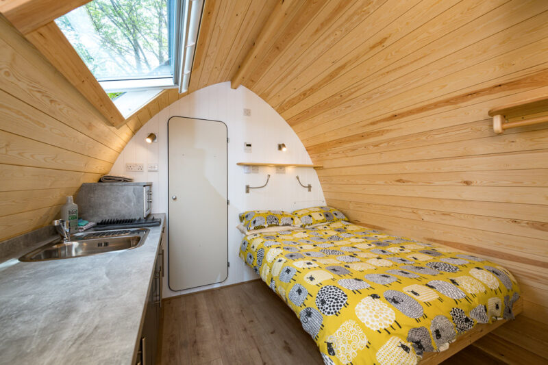deluxe camping pod living area