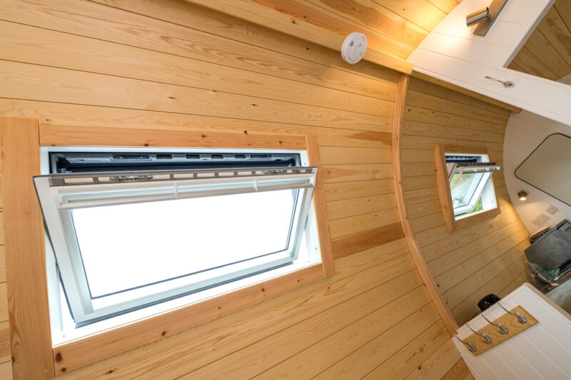 deluxe camping pod skylight