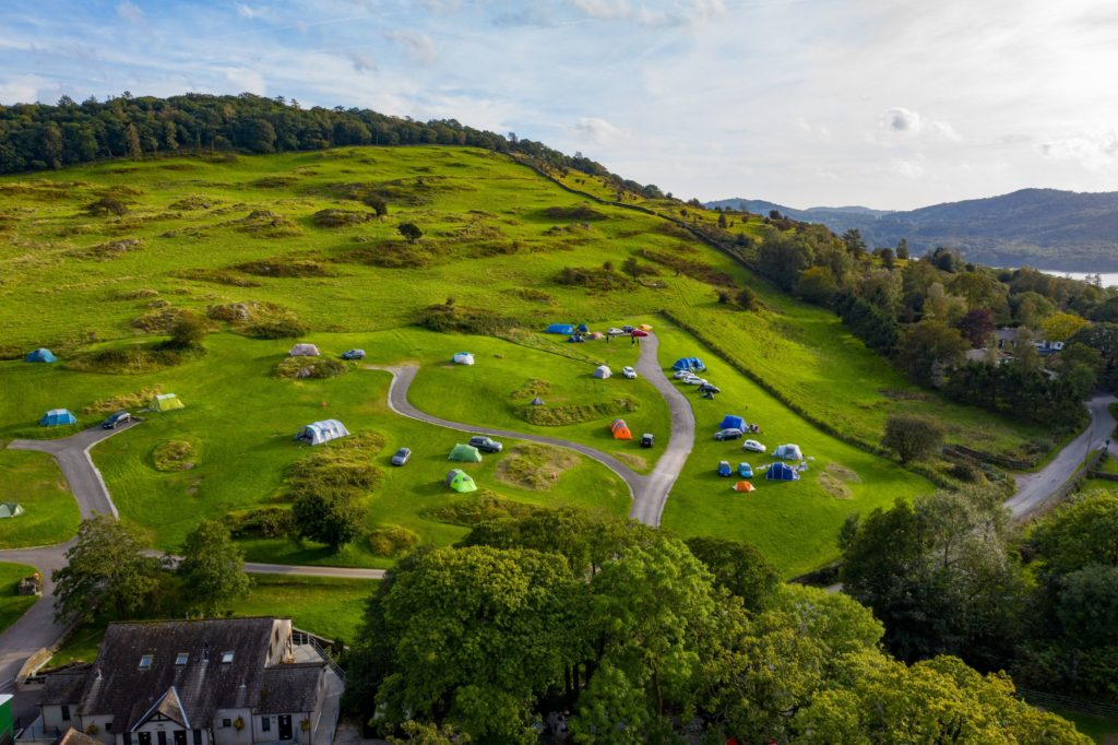 Park Cliffe Aerial site shot Camping Lake District