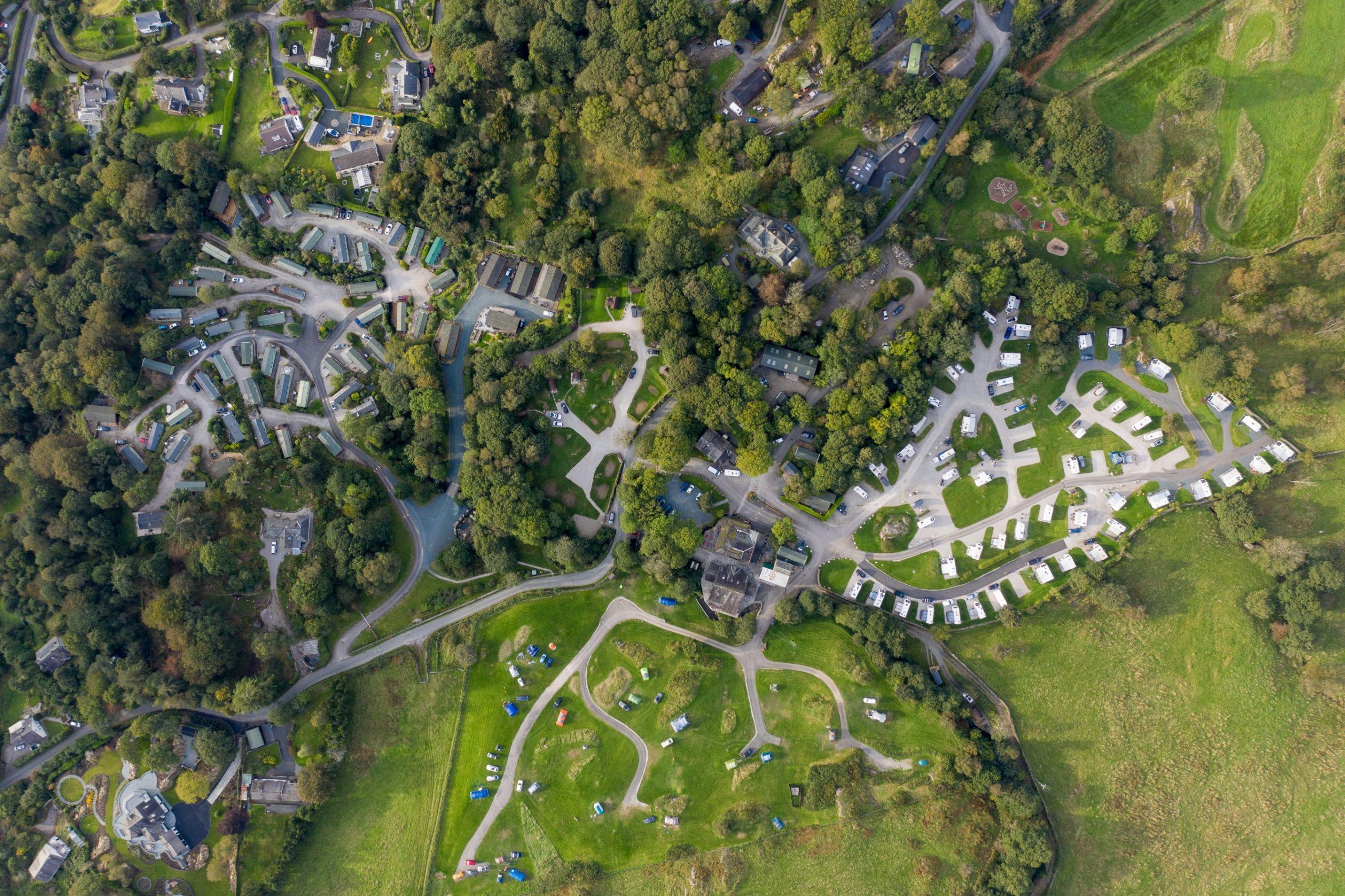 Park Cliffe Aerial site shot Lake District