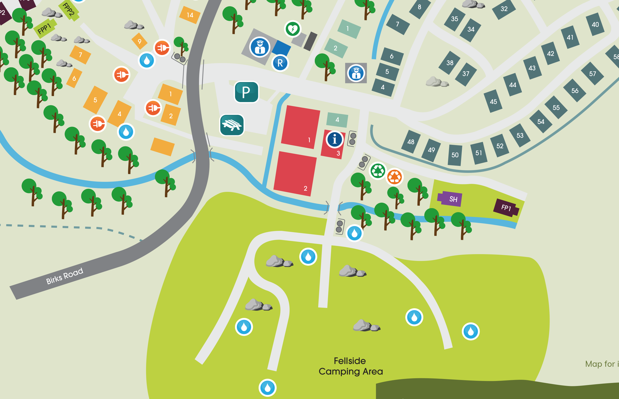 fellside campsite map